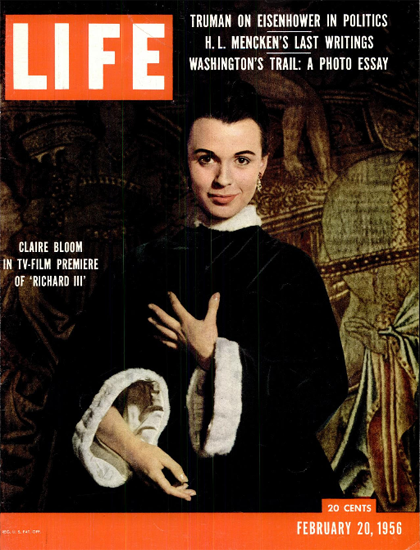 Claire Bloom in Richard III on TV 20 Feb 1956 Copyright Life Magazine | Life Magazine Color Photo Covers 1937-1970