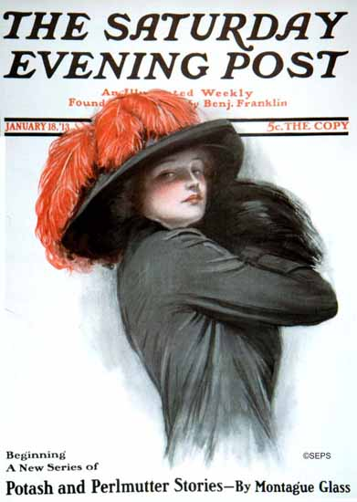 Clarence F Underwood Artist Saturday Evening Post 1913_01_18 | The Saturday Evening Post Graphic Art Covers 1892-1930