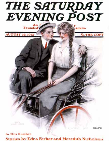 Clarence F Underwood Cover Artist Saturday Evening Post 1913_08_16 | The Saturday Evening Post Graphic Art Covers 1892-1930