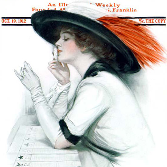 Clarence F Underwood Saturday Evening Post 1912_10_19 Copyright crop | Best of Vintage Cover Art 1900-1970