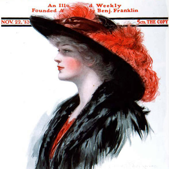 Clarence F Underwood Saturday Evening Post 1913_11_22 Copyright crop | Best of Vintage Cover Art 1900-1970