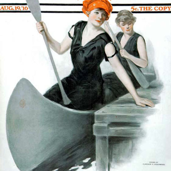 Clarence F Underwood Saturday Evening Post 1916_08_19 Copyright crop | Best of Vintage Cover Art 1900-1970