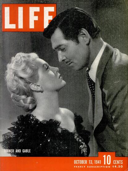 Clark Gable and Lana Turner 13 Oct 1941 Copyright Life Magazine   Life Magazine BW Photo Covers 1936-1970
