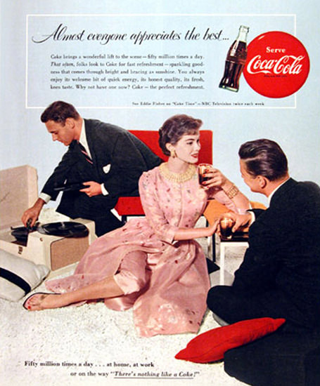 Coca-Cola 1955 Record Player Almost Everyone | Sex Appeal Vintage Ads and Covers 1891-1970