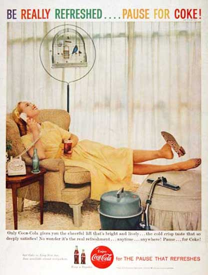 Coca-Cola 1959 Relaxing Housewife Vacuum | Sex Appeal Vintage Ads and Covers 1891-1970