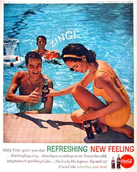 Coca-Cola 1960 Zing At The Pool | Sex Appeal Vintage Ads and Covers 1891-1970