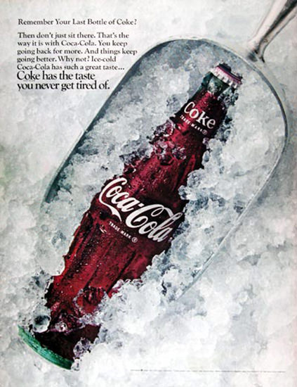 Coca-Cola 1968 Coke On Ice | Vintage Ad and Cover Art 1891-1970