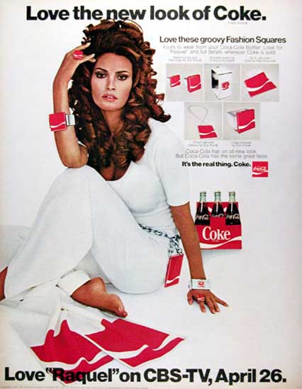 Coca-Cola 1970 Raquel Welch Love New Look | Sex Appeal Vintage Ads and Covers 1891-1970