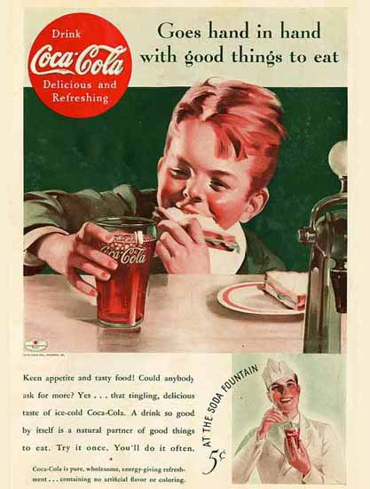 Coca-Cola Ad 1935 Hand in Hand | Vintage Ad and Cover Art 1891-1970
