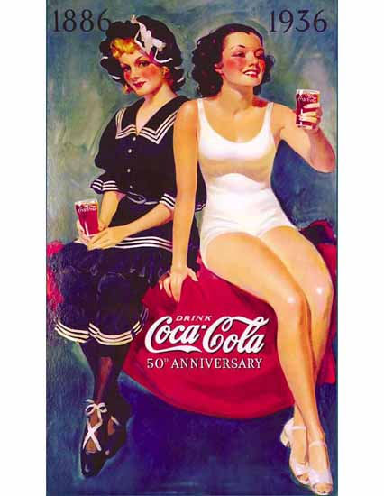 Coca-Cola Ad 1936 50th Anniversary Sex Appeal | Sex Appeal Vintage Ads and Covers 1891-1970