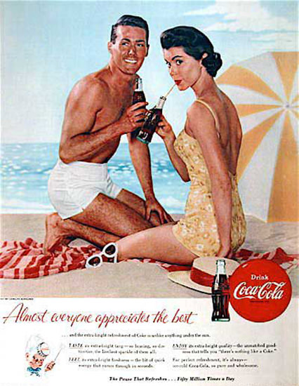 Coca-Cola Almost Everyone 1955 | Sex Appeal Vintage Ads and Covers 1891-1970