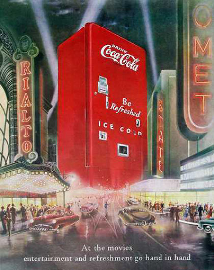 Coca-Cola At The Movies Rialto 1949   Vintage Ad and Cover Art 1891-1970