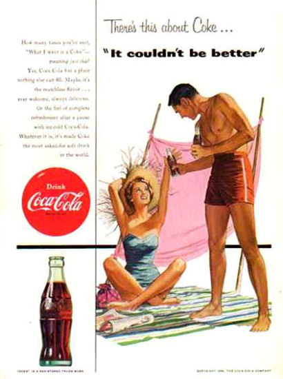 Coca-Cola Beach Life 1954 | Sex Appeal Vintage Ads and Covers 1891-1970