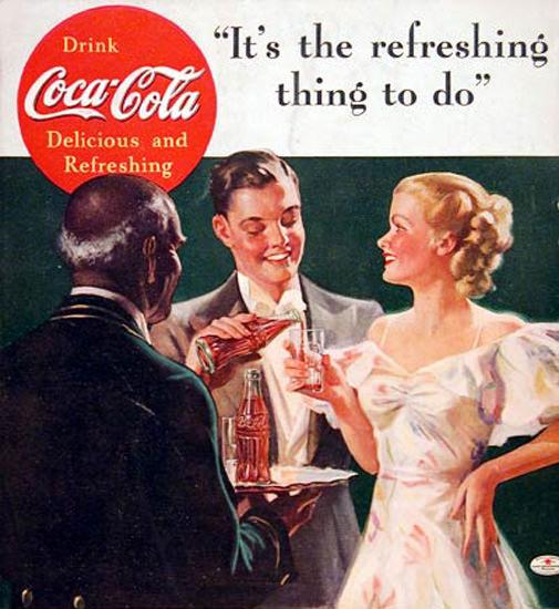 Coca-Cola Black Butler 1936 A Natural Partner | Sex Appeal Vintage Ads and Covers 1891-1970