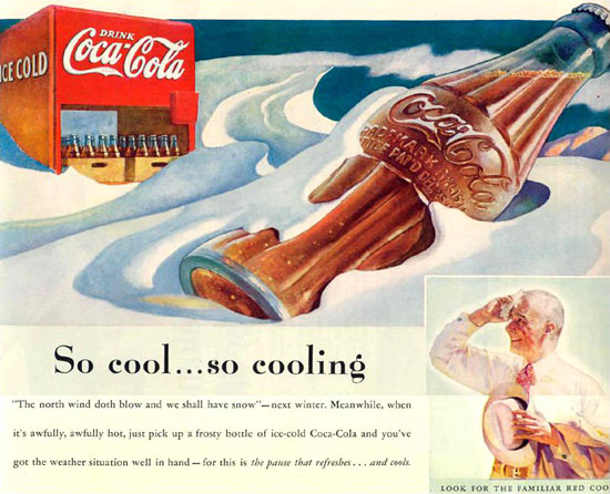Coca-Cola Bottle In The Snow 1937 | Vintage Ad and Cover Art 1891-1970