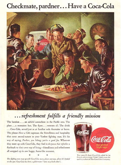 Coca-Cola Checkmate Pardner Have A Coke 1945   Vintage Ad and Cover Art 1891-1970