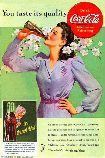 Coca-Cola Coke Girl Spring Real Thing Cherry Blossom 1942 | Vintage Ad and Cover Art 1891-1970