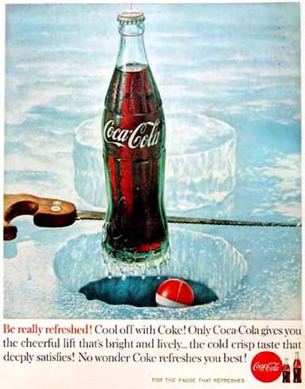 Coca-Cola Cool Off With Coke 1960 Icefishing | Vintage Ad and Cover Art 1891-1970