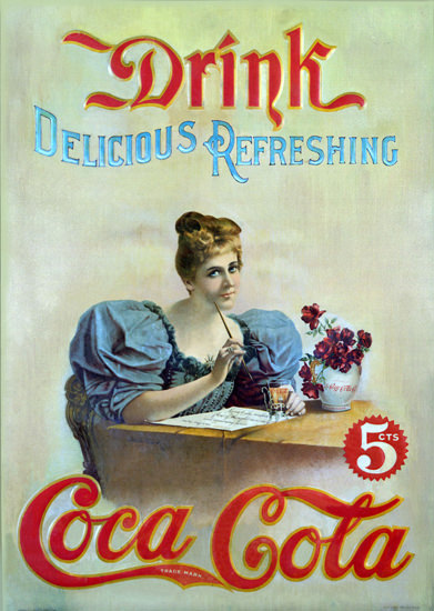 Coca-Cola Delicious Refreshing Lady 1895 Hilda Clark | Vintage Ad and Cover Art 1891-1970