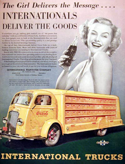 Coca-Cola Delivered By Yellow Int Truck 1938 Girl | Sex Appeal Vintage Ads and Covers 1891-1970