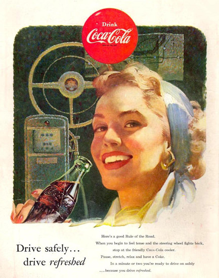 Coca-Cola Drive Safely Girl 1953 | Sex Appeal Vintage Ads and Covers 1891-1970