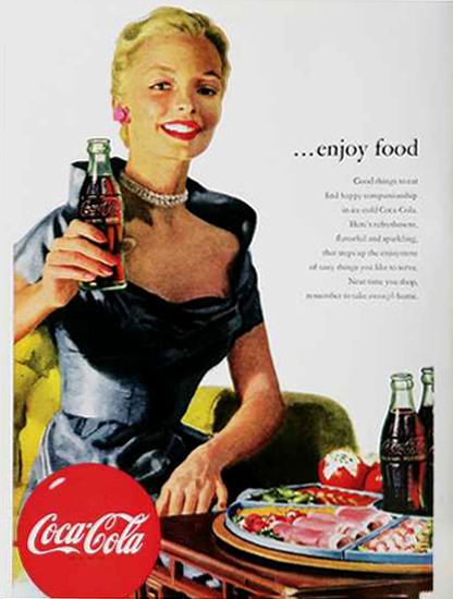 Coca-Cola Enjoy Food 1950s | Sex Appeal Vintage Ads and Covers 1891-1970