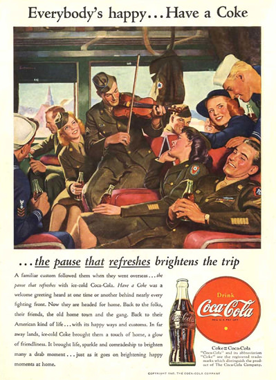 Coca-Cola Everybody Is Happy Have A Coke | Vintage Ad and Cover Art 1891-1970