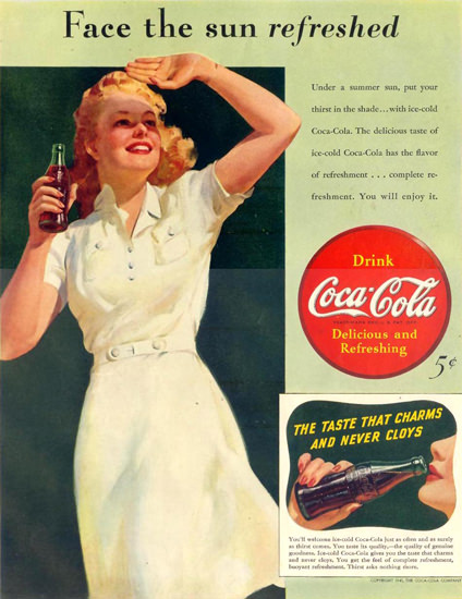 Coca-Cola Face The Sun Girl 1941 | Sex Appeal Vintage Ads and Covers 1891-1970