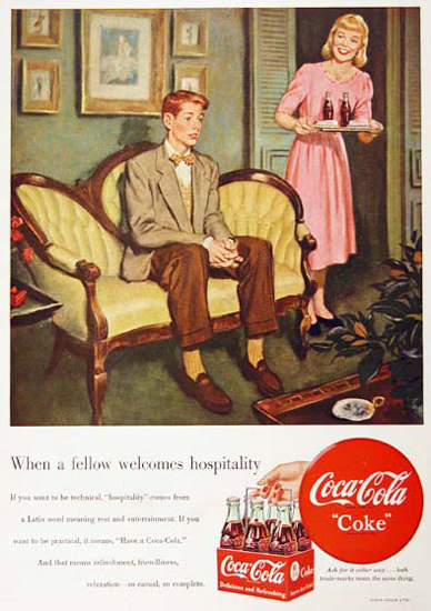 Coca-Cola First Date 1949 Fellow Welcomes | Sex Appeal Vintage Ads and Covers 1891-1970