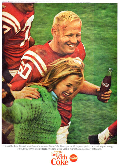 Coca-Cola Football 1965 | Sex Appeal Vintage Ads and Covers 1891-1970