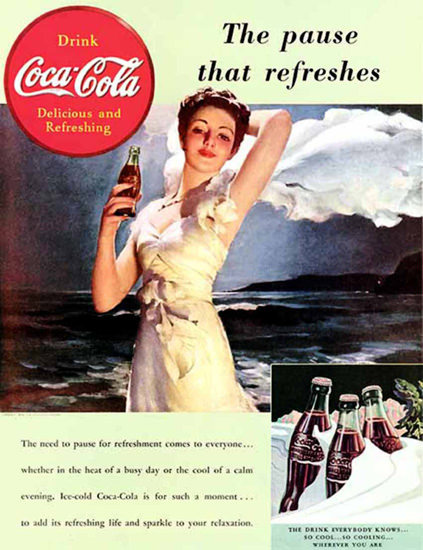 Coca-Cola Girl Dark Sea | Sex Appeal Vintage Ads and Covers 1891-1970