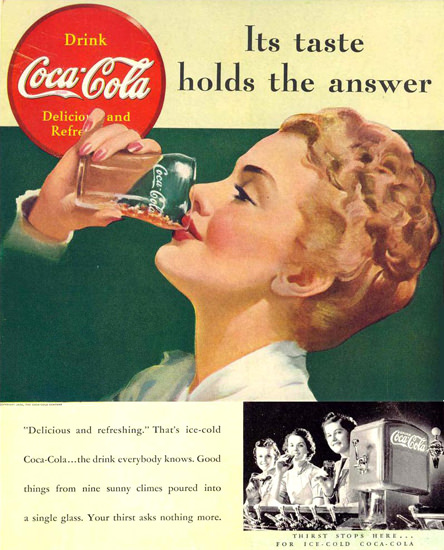 Coca-Cola Girl Its Taste Holds The Answer 1939 | Sex Appeal Vintage Ads and Covers 1891-1970