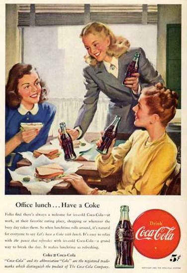 Coca-Cola Girls Office Lunch 1947 | Sex Appeal Vintage Ads and Covers 1891-1970