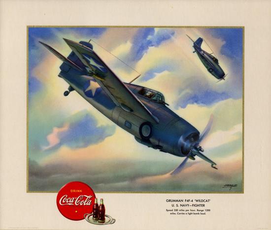 Coca-Cola Grumman F4F-4 Wildcat Fighter 1943 | Vintage War Propaganda Posters 1891-1970
