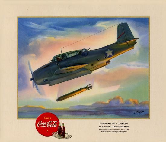 Coca-Cola Grumman TBF-1 Torpedo Bomber 1943 | Vintage War Propaganda Posters 1891-1970