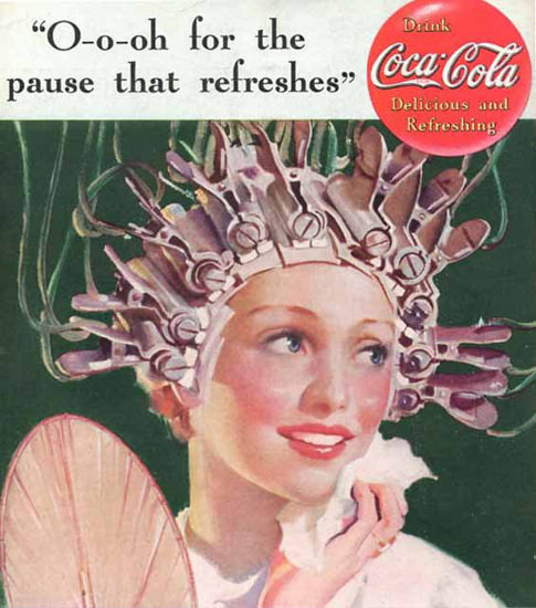 Coca-Cola Hot Girl Hair Roller For The Pause | Sex Appeal Vintage Ads and Covers 1891-1970