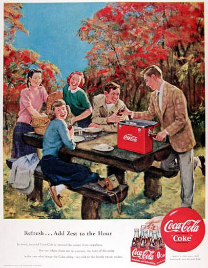 Coca-Cola Indian Summer 1950 Add Zest | Vintage Ad and Cover Art 1891-1970