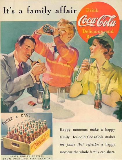 Coca-Cola Its A Family Affair 1937 | Vintage Ad and Cover Art 1891-1970