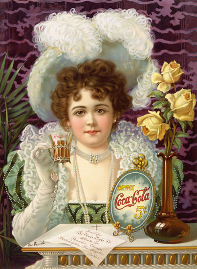 Coca-Cola Lady Drink Coca-Cola 5 Cents Classic 1895 Hilda Clark | Sex Appeal Vintage Ads and Covers 1891-1970