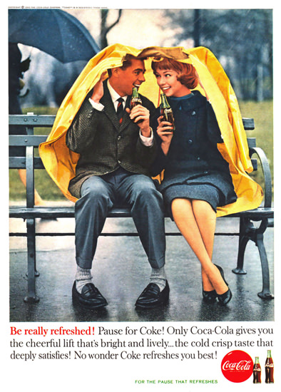 Coca-Cola Lovers In The Rain 1960 | Sex Appeal Vintage Ads and Covers 1891-1970