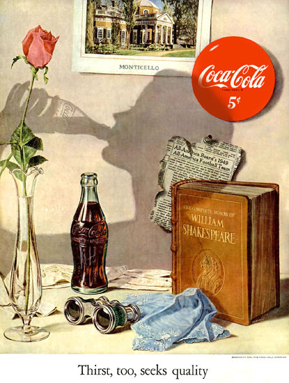 Coca-Cola Monticello William Shakespeare Quality   Sex Appeal Vintage Ads and Covers 1891-1970
