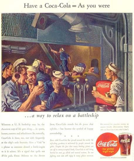 Coca-Cola Navy Relax On A Battleship 1944 | Vintage War Propaganda Posters 1891-1970