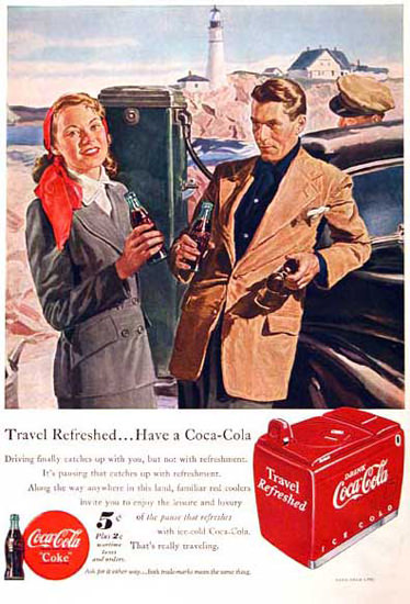 Coca-Cola Seaside 1949 Travel Cooler Ice Chest | Vintage Ad and Cover Art 1891-1970