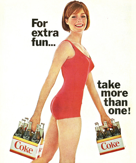 Coca-Cola Swim Suit Six Pack Girl For Extra Fun | Sex Appeal Vintage Ads and Covers 1891-1970