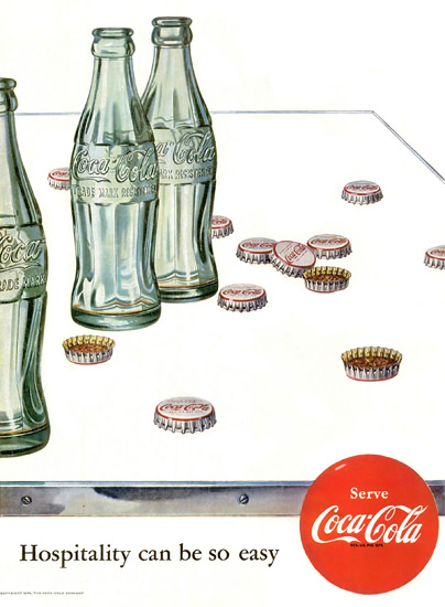 Coca-Cola Bottle Caps Hospitality Can Be So Easy 1952 | Vintage Ad and Cover Art 1891-1970