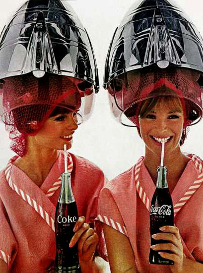 Coca-Cola Twins Hairdryer 1965 | Sex Appeal Vintage Ads and Covers 1891-1970