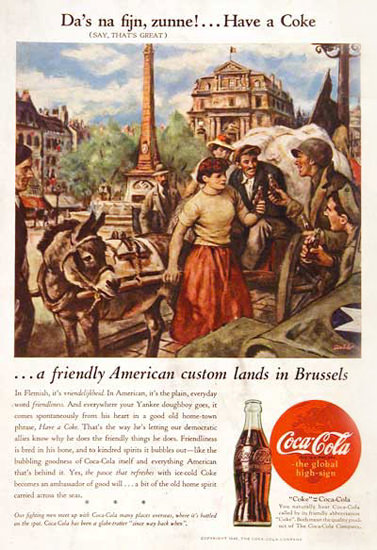 Coca-Cola US Army 1945 In Belgium Have A Coke | Vintage Ad and Cover Art 1891-1970