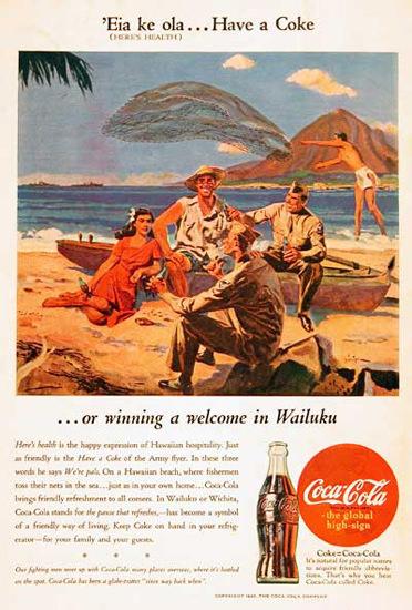 Coca-Cola US Army 1945 In Hawaii Wailuku Coke | Vintage Ad and Cover Art 1891-1970