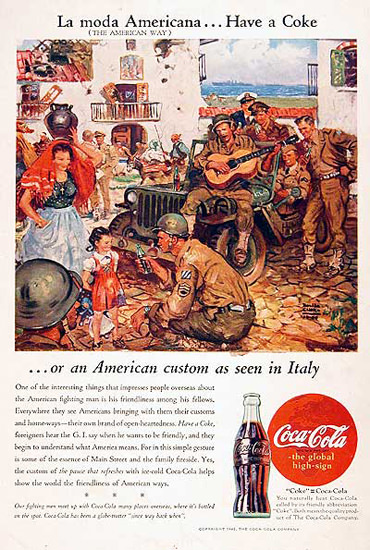 Coca-Cola US Army 1945 In Italy Have A Coke   Vintage Ad and Cover Art 1891-1970