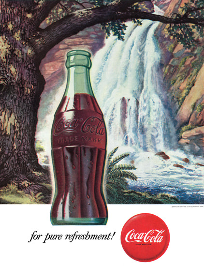 Coca-Cola Waterfall Coke | Vintage Ad and Cover Art 1891-1970